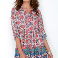 Once and Floral Purple Print Shirt Dress