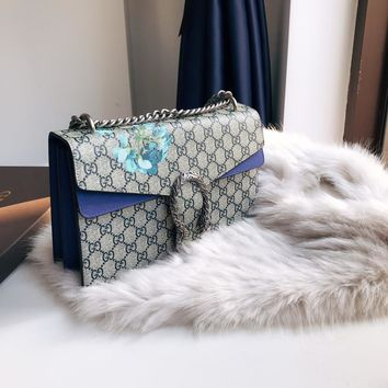 GUCCI Canvas patchwork Pelargonium tiger head chain bag
