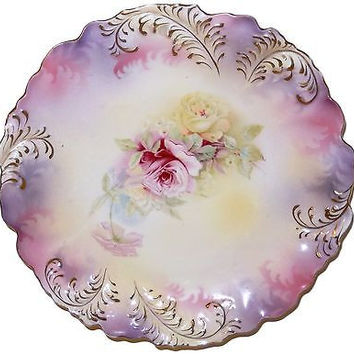 RS Prussia Porcelain Plate Sculpted Leaf Form Purple Pink Roses Antique