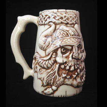 Handmade, Viking Skull Beer Mug, Ceramic, Beer Stein, Porcelain, Sculpted Relief Decoration, Halloween