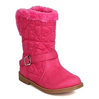 Toddler Girl's Quilted Hearts Suede Fur Riding Winter Boots
