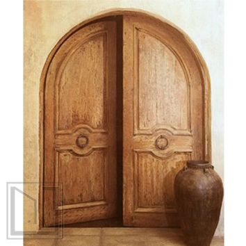 Round Top Double Prehung Door, Mahogany with Hand Carved Panels