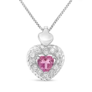 Sterling Silver 0.34ct TDW Pink Sapphire Heart and Diamond Heart Shape Pendant Necklace (I-J,I2-I3)