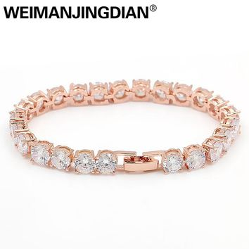 WEIMANJINGDIAN Large 6MM Round Cut Cubic Zirconia Crystal Prong Setting CZ Bridal Tennis Bracelets for Women or Wedding