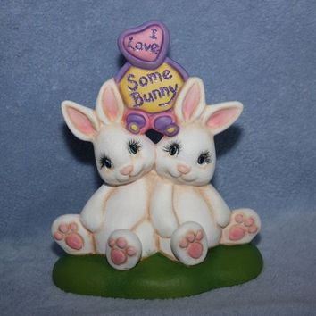 Handpainted Ceramic Cuddle Bunnies with a sign saying I Love Some Bunny