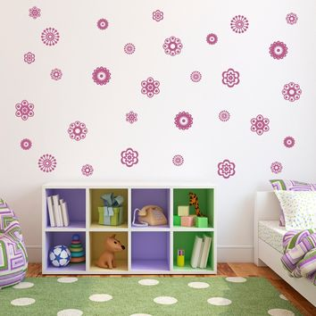 Flower Wall Decals - Girls Bedroom Wall Decals - Set of 31 decals