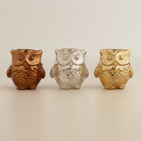 Mercury Glass Owl Tealight Candle Holders, Set of 3