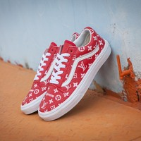 Best Deal Online Vans x Supreme x Lv Old Skool Red High Top Men Flats Shoes Canvas Sneakers Women Sport Shoes
