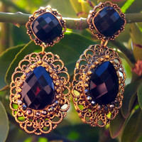 Feeling Lucky Gold & Black Earrings