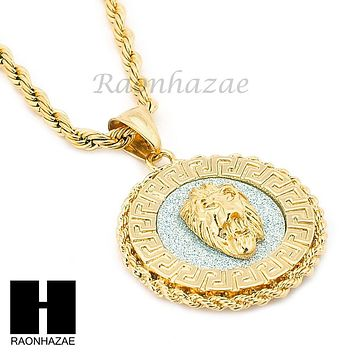 "MENS STAINLESS STEEL LION FACE MEDALLION PENDANT 24"" ROPE CHAIN NECKLACE NP012"