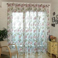 100x200cm Flower Curtain Transparent Tulle Curtains Window Screening Treatments Living Room Children Bedroom Sheer Curtain