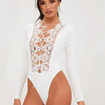 Lace Hollow Out Long Sleeve Bodysuit