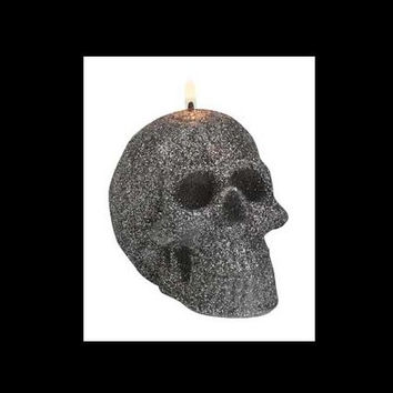 Charcoal Glitter Skull Candle 3""