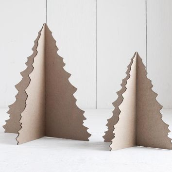 Chipboard Christmas Tree - 3D Cardboard Craft Tree, 6 or 8 Inch Tall