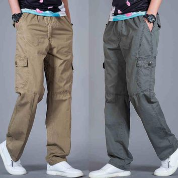Man Summer Casual Pants Large Size Spring Fashion Spliced Loose Elastic Waist Cargo Pant Men Male Trousers With Pockets A3256