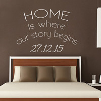 Wall Decal Quote Home Is Where Our Story Begins Vinyl Stickers Established Date Art Anniversary Decal Interior Design Bedroom Decor KY120