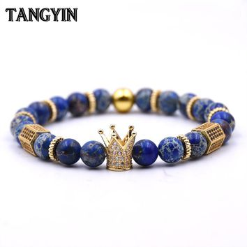 2018 Charms Men's Metallic Bracelet Zircon Gold Crown Blue Imperial Stone Beaded Bracelet Woman Man's Best Birthday Holiday Gift