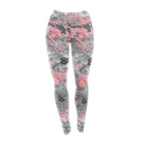 "Zara Martina Mansen ""Floral Blush"" Pink Gray Yoga Leggings"
