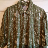 Columbia Shirt Mens Size M Medium Short Sleeve Green Tropical Button Front