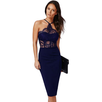 Navy Halter Lace Fitted Midi Dress Sale LAVELIQ