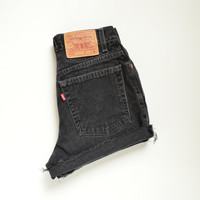 "vintage 90s LEVIS 512 high waisted shorts /  faded black denim / distressed cuffed hem / size 27"" waist"