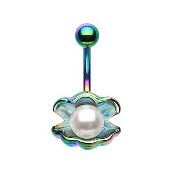 Ariel's Mermaid Shell with Pearl Ocean Belly Button Ring