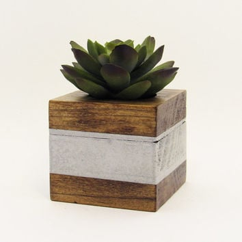 Small Wood Succulent Planter Pot, Modern Cube Plant Holder, Indoor Garden Planter Box, Cactus Planter, Office Planter, Home Decor, Silver