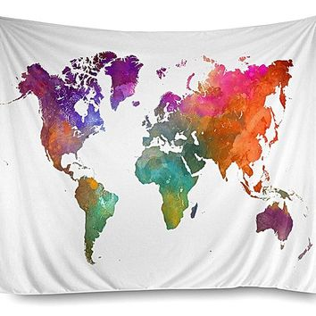 Watercolor Map Boho Fabric Wall Tapestry