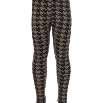 Girls Checker Leggings, Grey-Black