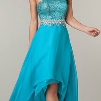 CLEARANCE - Teal High Low Formal Homecoming Dress Strapless Sequins Top (Size Small)
