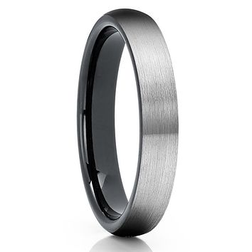 4mm - Black Tungsten Wedding Band - Gray Tungsten Ring - Tungsten Carbide Ring