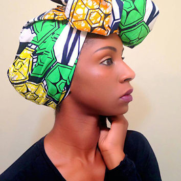 Green African headwrap - Ankara turban - african head wrap- green Headwrap - African print turban - Wax print headwrap - tribal turban