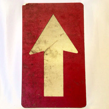Free Shipping Vintage Street Sign Arrow Red and White