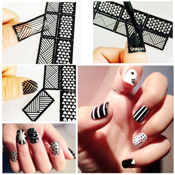 1 Pcs Print Nail Art Sticker DIY Stencil Stickers For 3D Nails 24 Design Easy Stamping