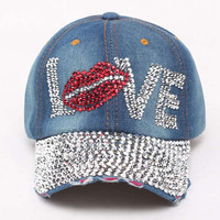 Summer Style Lady Jeans Hats crystal Rhinestone hip hop