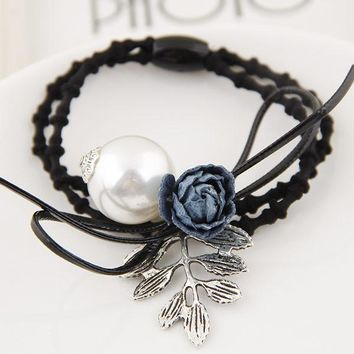 Korean Fashion Metal Antique Leaves Flower Pearl Headbands Women Hair Jewelry Hair Bands