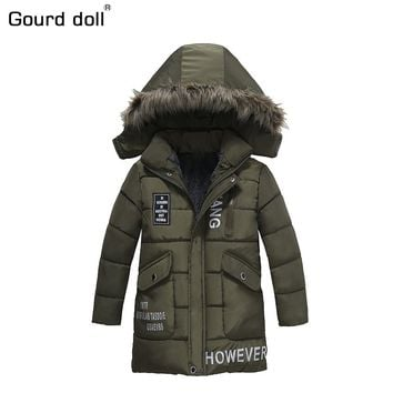 Gourd doll 4-8Ys Warm winter Jacket Boys Casual Windbreaker jackets & coat Kids Outerwear Sporty with hoodie Clothes Double-deck