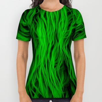 Green Wooly Carpet All Over Print Shirt by Azima