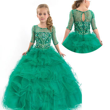 Kids Beauty Pageant Dresses For Junior Children Pageant Gowns Turquoise Flower Girl Dresses Peach Color Party Dress