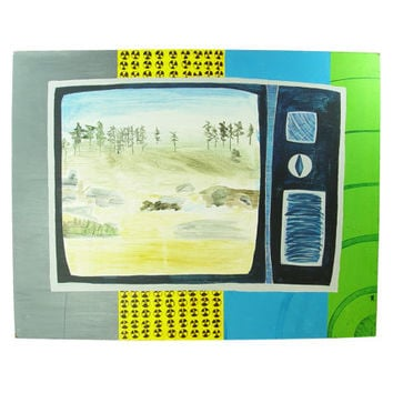 Unique Atomic Pop Art -Nuclear Television Wasteland Painting - 1 of 4