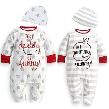 Baby Boys Girls Star Stripe Cotton Romper Hat Sleepsuit Playsuit Outfits Set [8834009548]