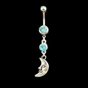 Moon Belly Ring with Blue Rhinestone Body Jewelry