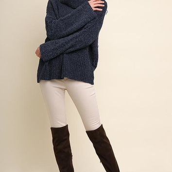 Chenille Knit Pullover Sweater with a Fold-Over Turtleneck - Navy