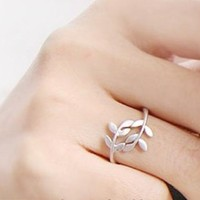 JE064 Leaves Ring, Silve Color Ring, Branches Ring, Unique Ring
