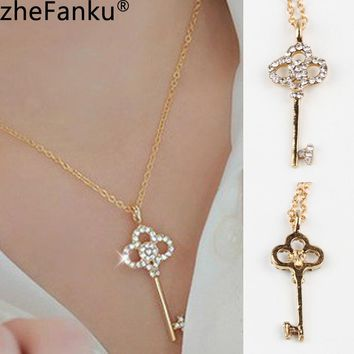 Key Shaped Pendant Clavicle Chain Necklace Newly Arrival Trendy And Lovely  - Color Gold