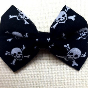 Black Skulls Hair Bow Pirate Bow Tie Women by TiedInaKnotBowtique