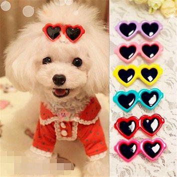 Cute Pet Dog hair grooming supplies love heart Doggy Puppy hair clips hairpin teddy sun glasses hair accessory Cat Hair Ornament