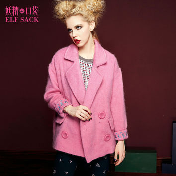 ELF SACK 2016 Winter Embroidery Solid Wool Coats Thick Turn-down