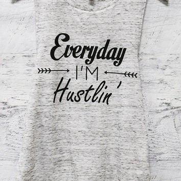 Everyday I'm Hustlin' Gray Graphic Tank