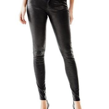Low-Rise Power Skinny Leather Pants at Guess